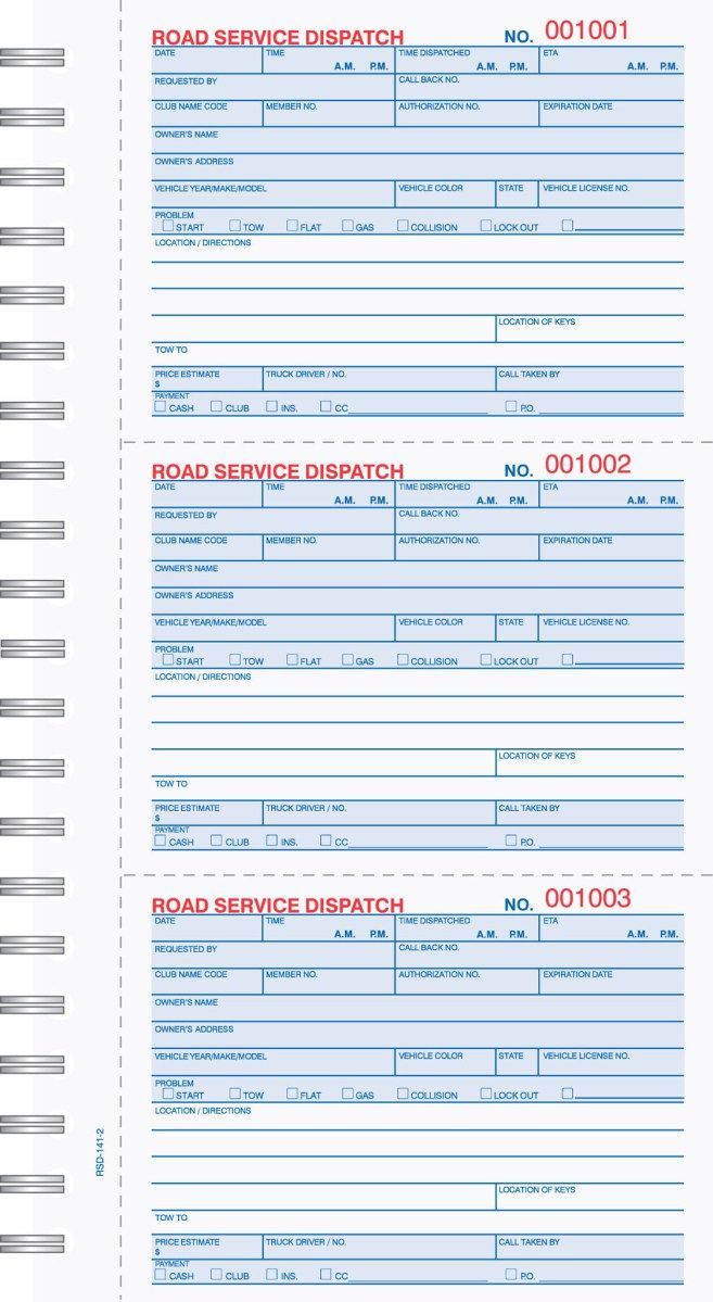 Part Road Service Dispatch Book Carbonless  Business Forms