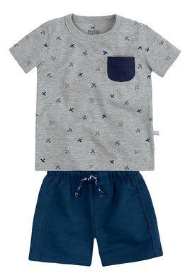 Conjunto Bebê Menino Com Camiseta De Estampa Mini Print Hering Kids ... bc46f1dba754b