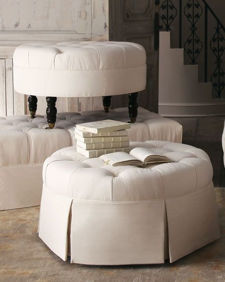 Love The Round Ottoman W Skirt Tufted Ottoman Round Tufted Ottoman Tufted Leather Ottoman