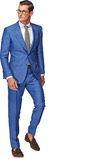 Suitsupply Washington Light Blue Plain Pure Linen   Men's S