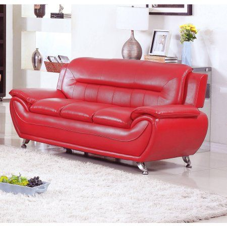 UFE Norton Red Faux Leather Modern Living Room Sofa | Living room ...