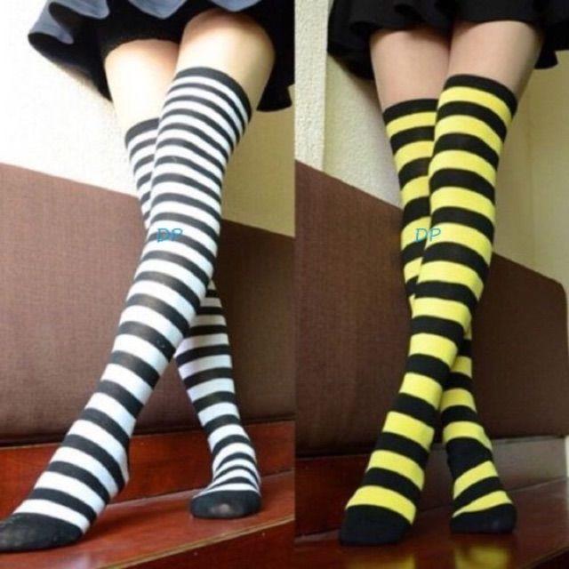 399903bbef76e Striped Over The Knee Socks Thigh High Black White | socks, hosiery ...