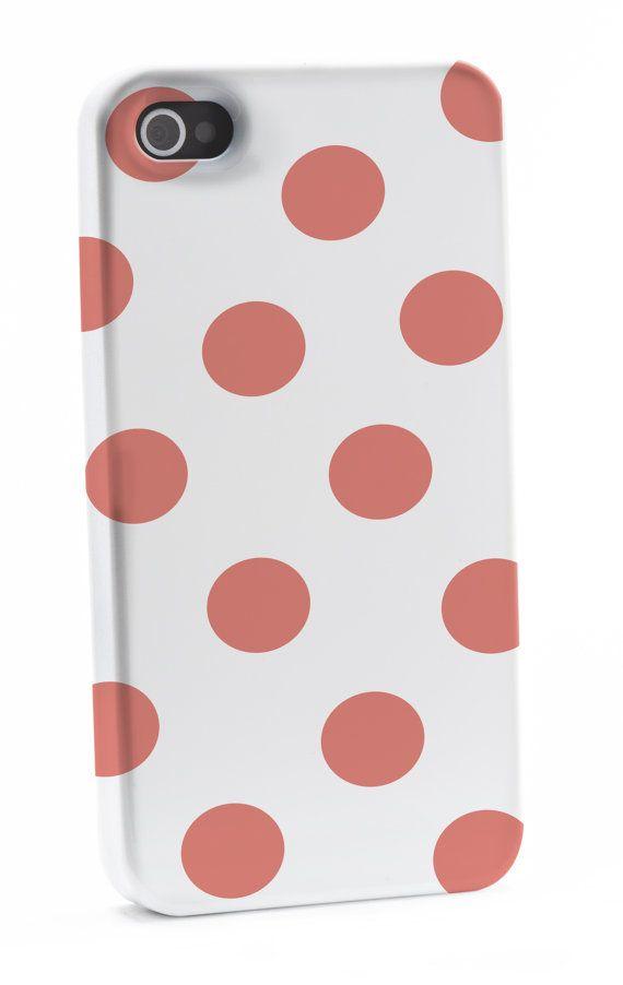 Coral Polka Dots iPhone 4/4s Case by shoppronetowander