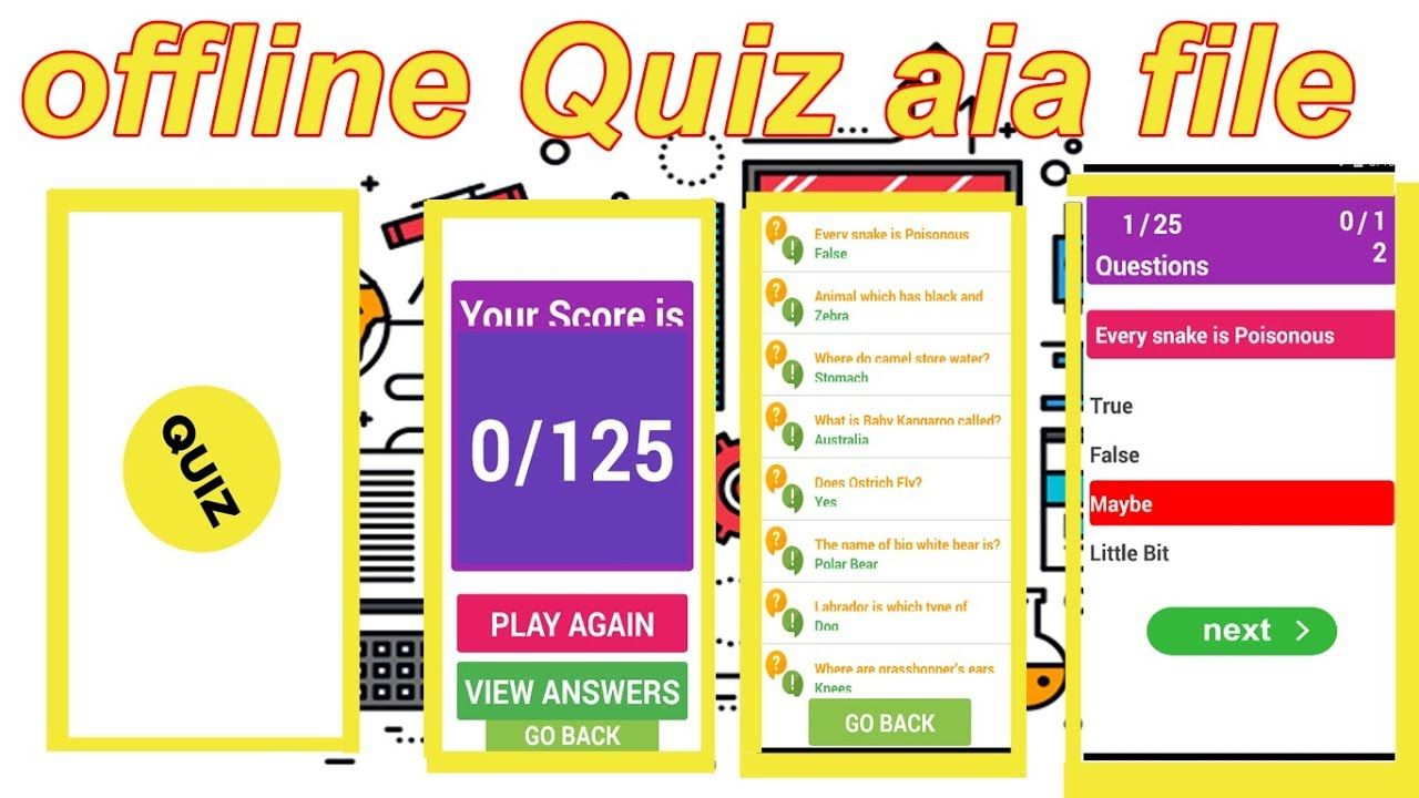 Offline Quiz App aia file free download for kodular / quiz