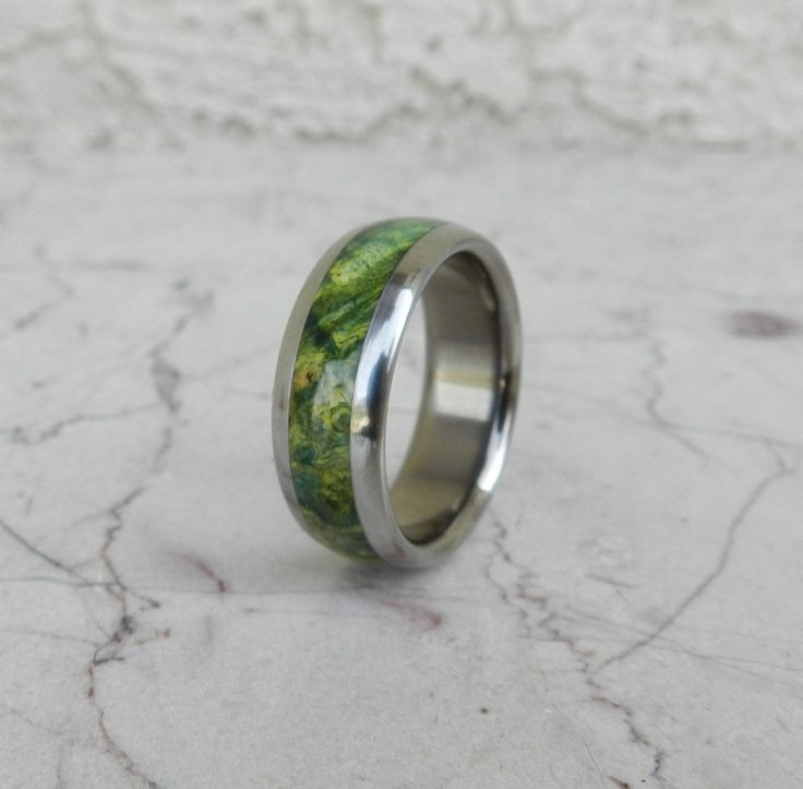 Mens Wedding Ring GREEN Shield