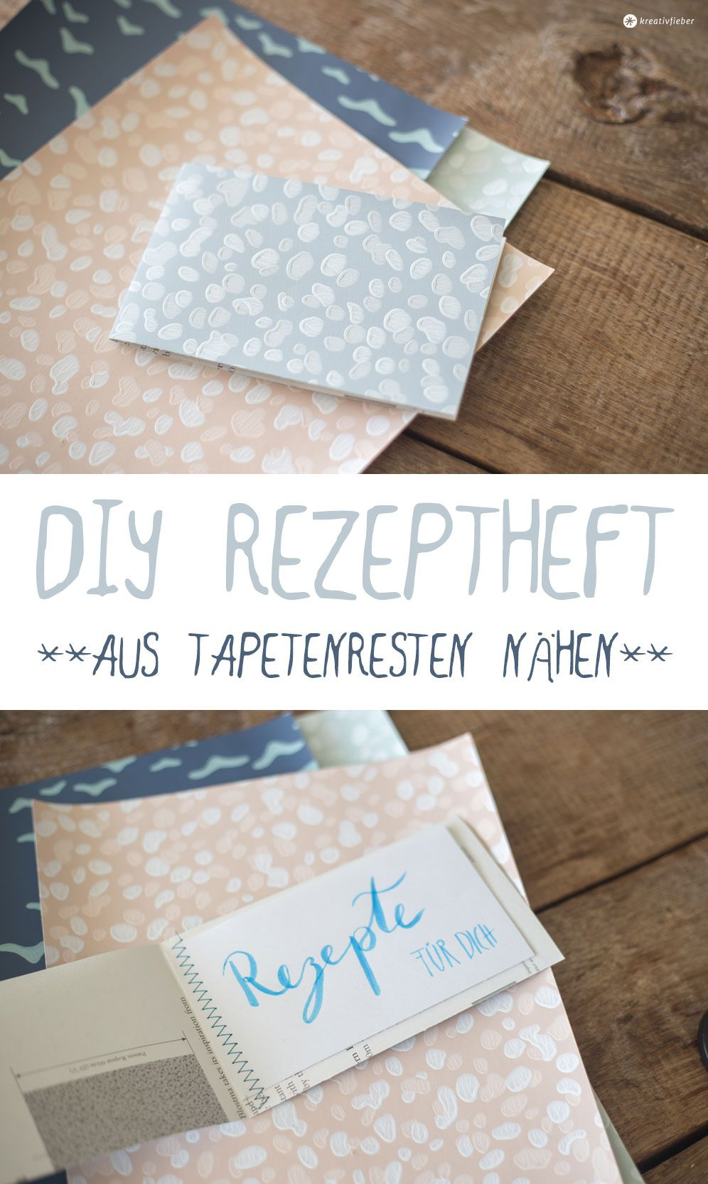 schnelles diy rezeptheft aus tapetenresten diy. Black Bedroom Furniture Sets. Home Design Ideas