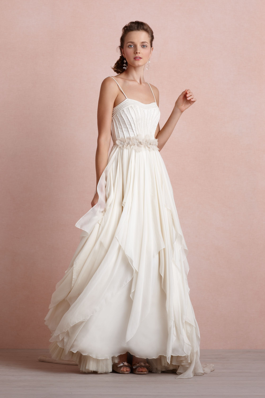 Pink and ivory wedding dress  Cascading Goddess Gown from BHLDN  wish list  Pinterest  Bhldn