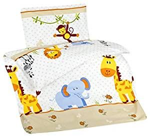 Bunte Bettwäsche 100x135 Cm Kinder Jungen Mädchen Tiere Baumwolle