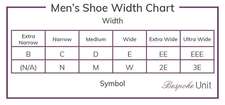 Men S Shoe Width Chart Shoe Size Conversion Shoe Size Shoes