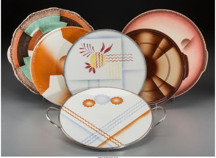 A Group Of Six Spritzdekor Art Deco And Bauhaus Ceramic Cake Platte Lot 65569 Art Deco Ceramics German Ceramics