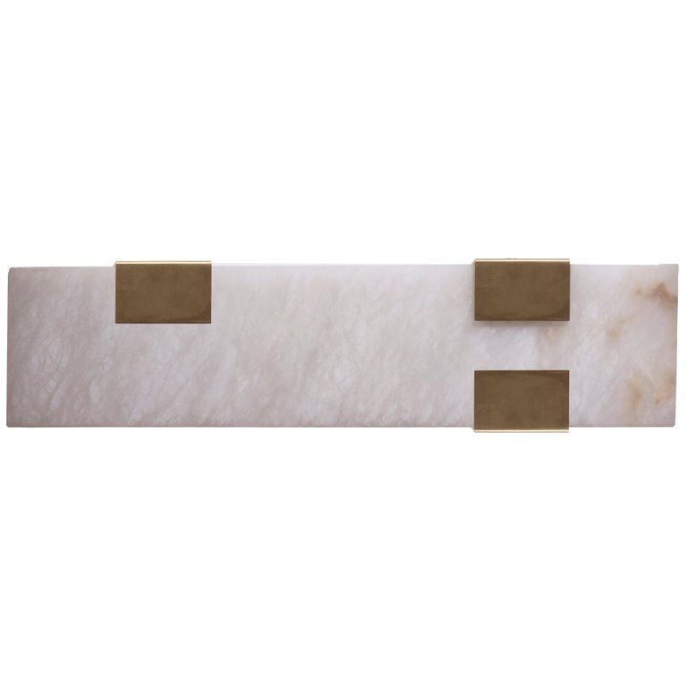 Contemporary 003 3c Sconce In Brass And Alabaster By Orphan Work