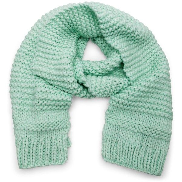 Designers Remix Sign Heavy knit scarf ($92) ❤ liked on Polyvore featuring accessories, scarves, mint, knit scarves and knit shawl