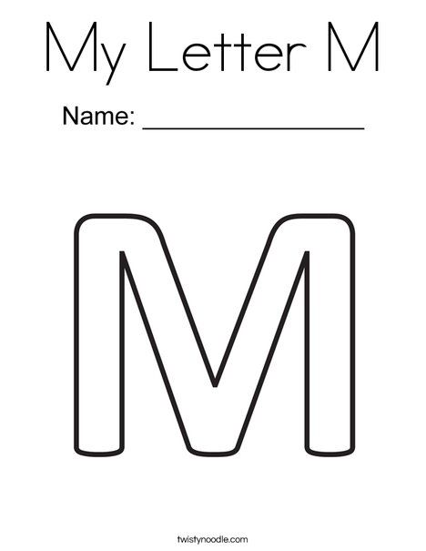 My Letter M Coloring Page Twisty Noodle Lettering Cool