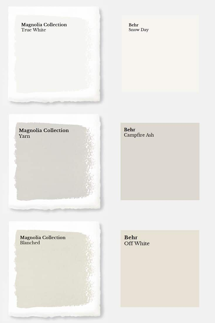 Magnolia Paint Colors Matched to Behr images