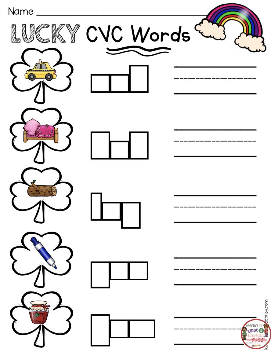 March Math Ela Kindergarten Pack No Prep Freebies Keeping My Kiddo Busy Cvc Words Cvc Words Kindergarten Phonics Printables [ 1152 x 888 Pixel ]