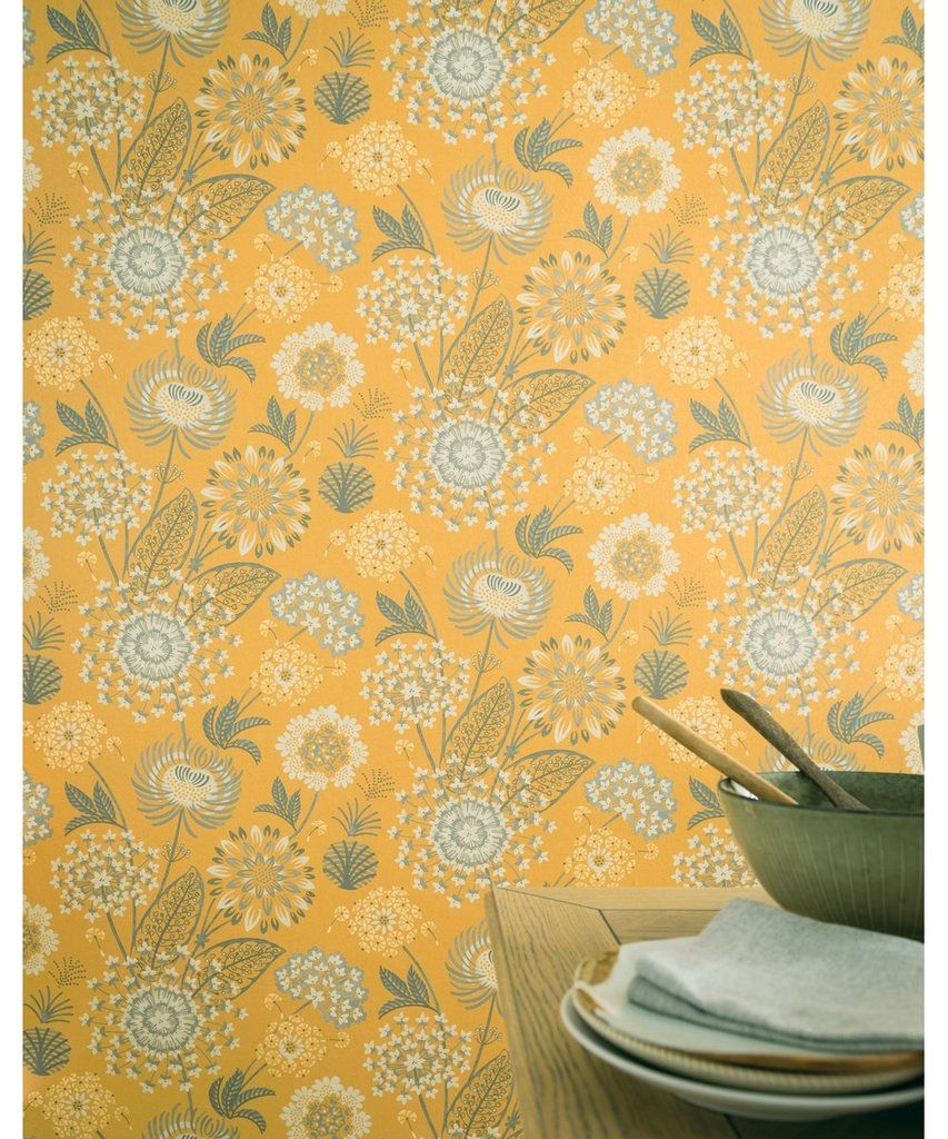 Vintage Bloom Mustard Yellow Mustard Wallpaper Vintage Home