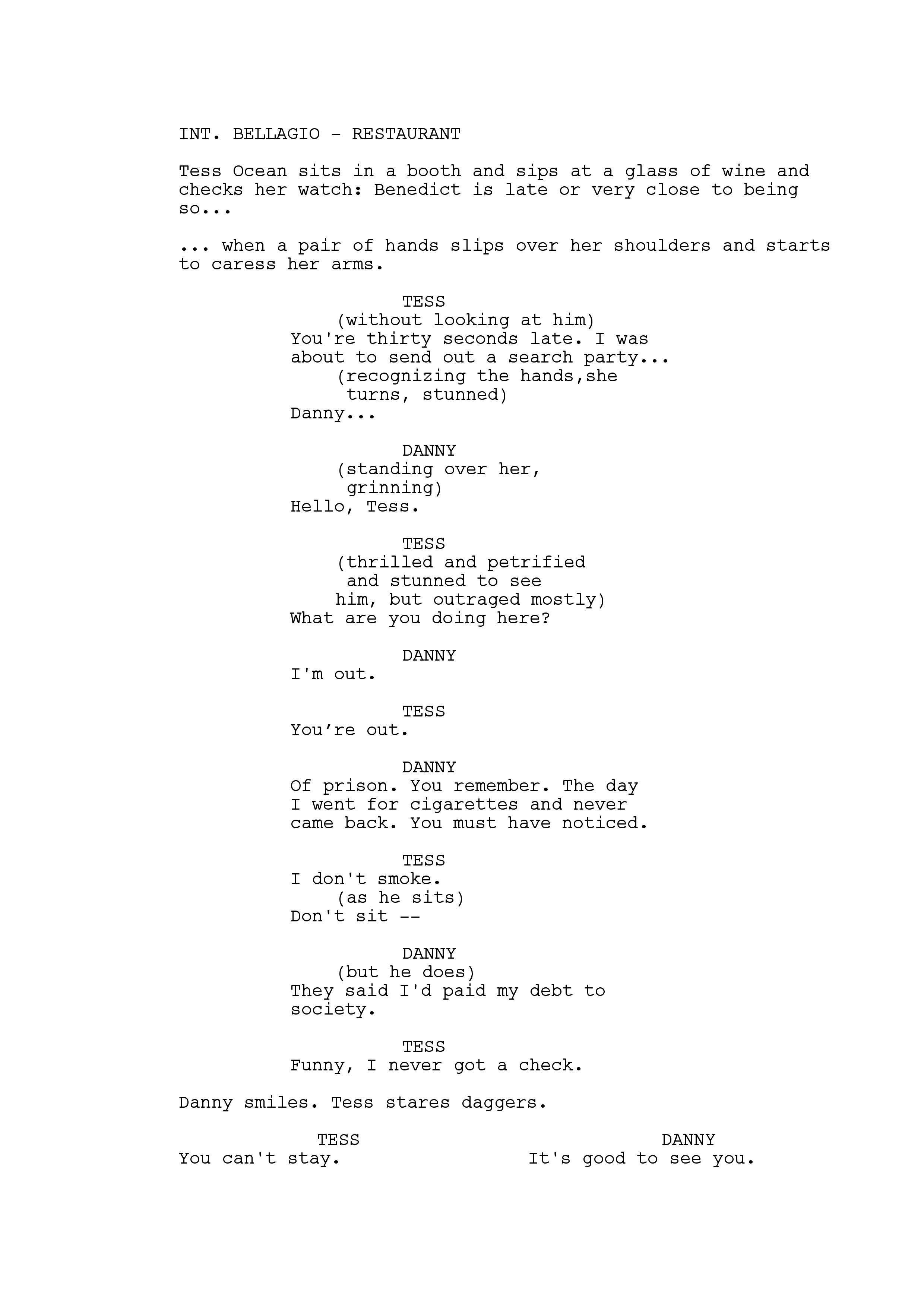 ocean s eleven dialogue example of subtext dialogue saying