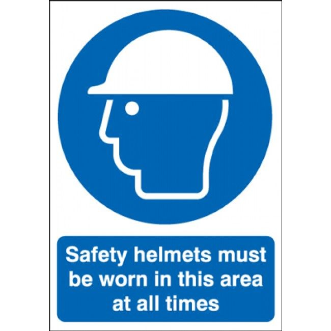 Safety Helmets Must Be Worn In This Area Sign | Safety