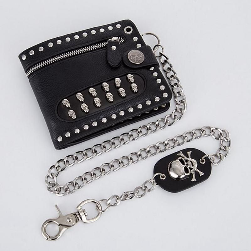 Skull Punk Biker Leather Chain Wallet Coins Purse For Mens or Boys
