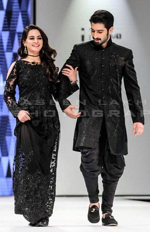 Pakistani Actors Airman And Muneeb Black Dress Sherwani