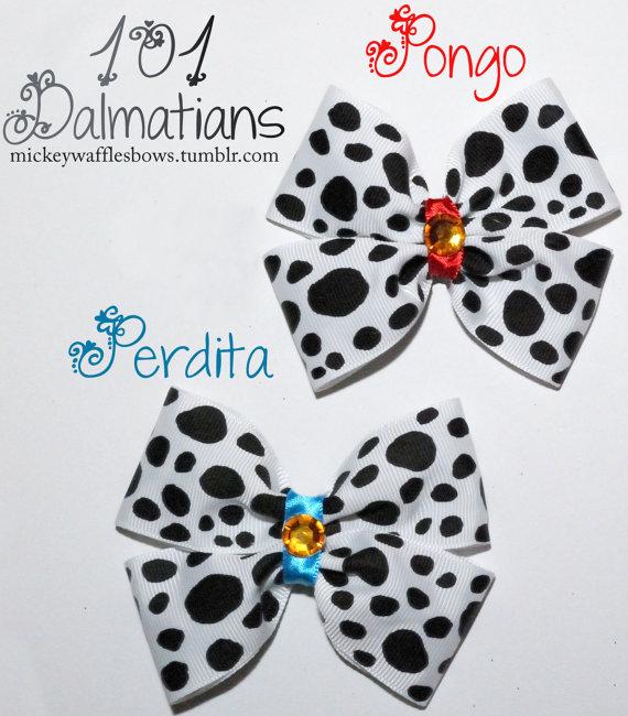 101 Dalmatians Hair Bow Pongo OR Perdita by MickeyWaffles on Etsy, $7.00