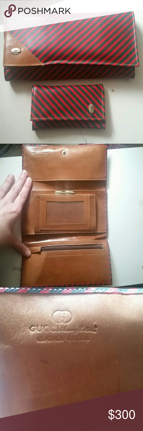 Vintage Gucci Wallet & Key Wallet Matching Set This red