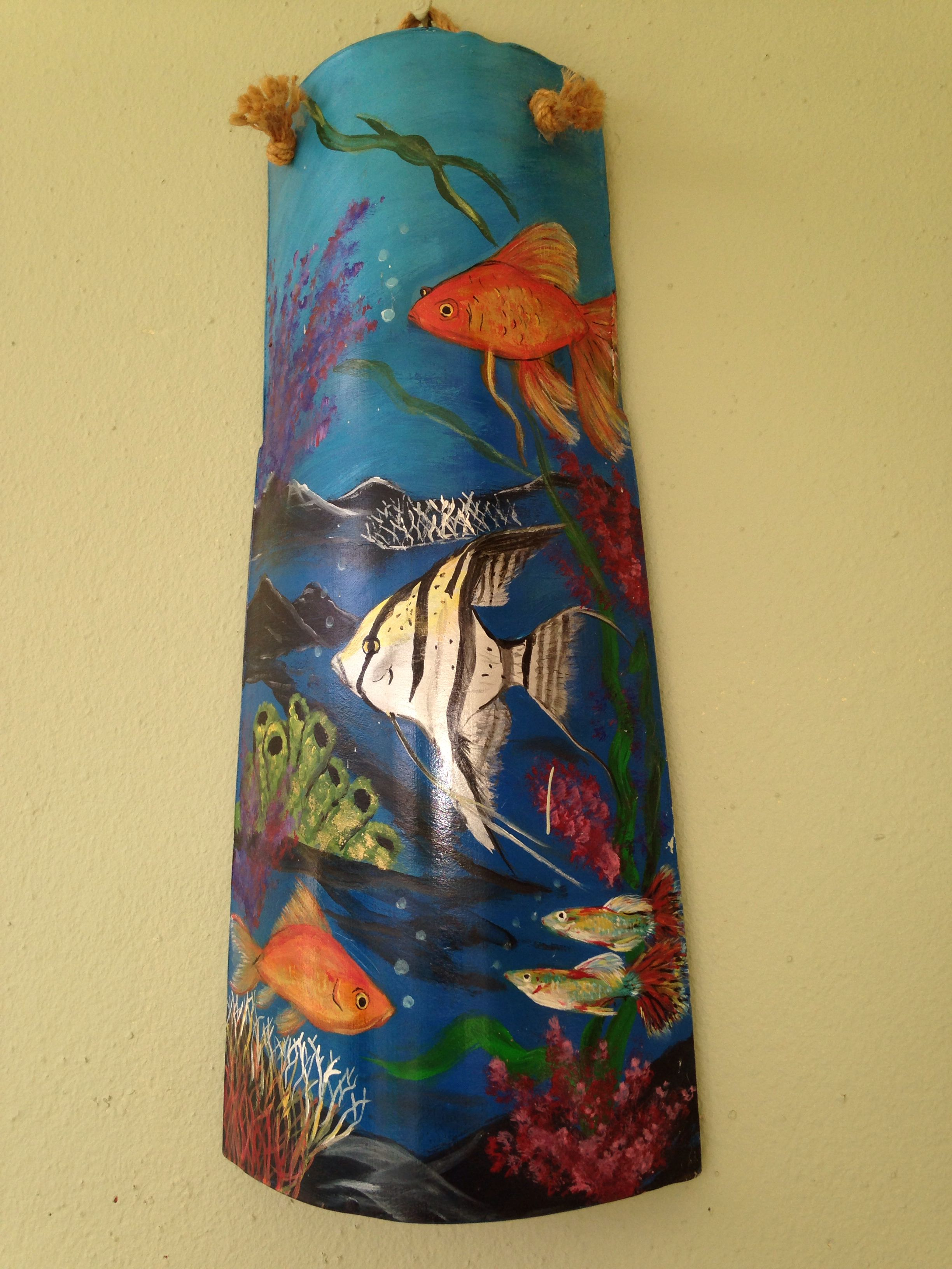 Fondo marino teja pintada en acr lico 2010 por elba rivera figueroa mi pasatiempo - Pintar tejas de barro ...