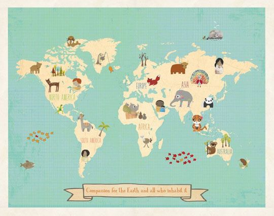 Add Some Charity to Your Wall Art Walls, Child and Kids rooms - new unique world map poster