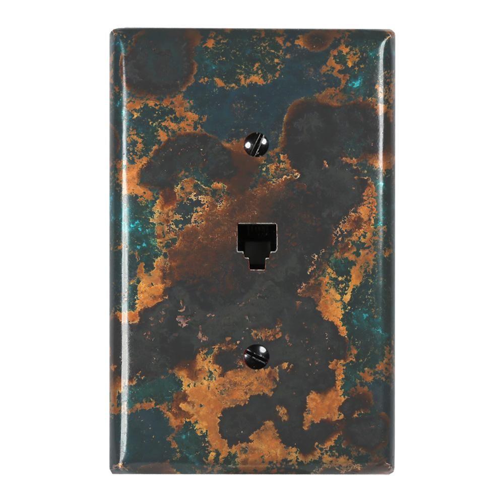 Mystic Topaz Copper 1 Phone Jack Wallplate Mystic Topaz Deeper Shade Of Blue Copper Mirror