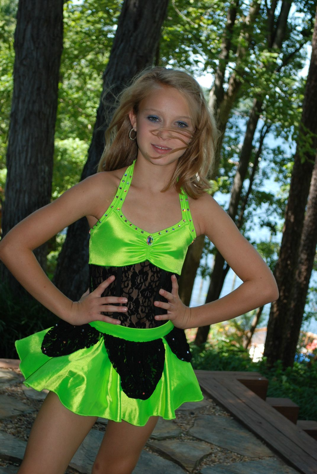 2afc32fc45be Custom Competition Dance Costume Lime Black cm or CL Jazz Tap ...
