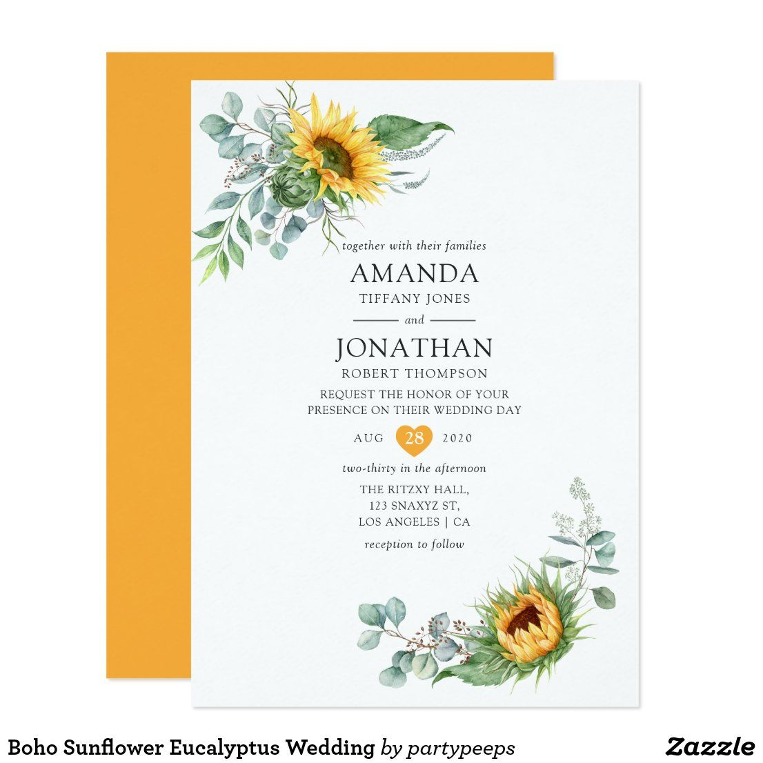 Boho Sunflower Eucalyptus Wedding Invitation