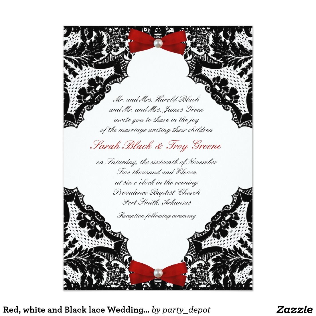 Red, white and Black lace Wedding Invitation | Lace, Invitations and ...