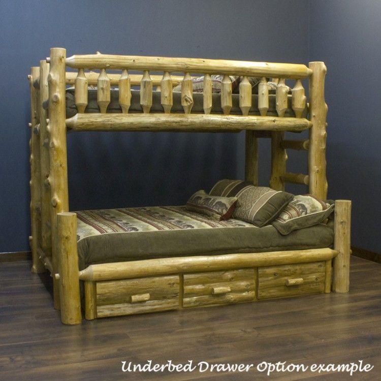 Cedar Lake Xl Twin Over Queen Log Bunk Bed Bunk Beds