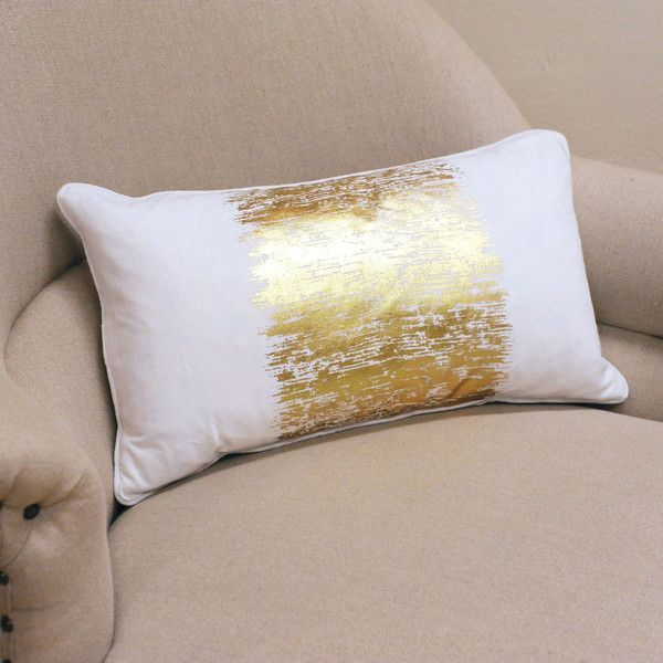 Saro Metallic Banded Design Pillow ($32) ❤ liked on Polyvore featuring home, home decor, throw pillows, gold, gold home accessories, patterned throw pillows, gold toss pillows, gold home decor and textured throw pillows