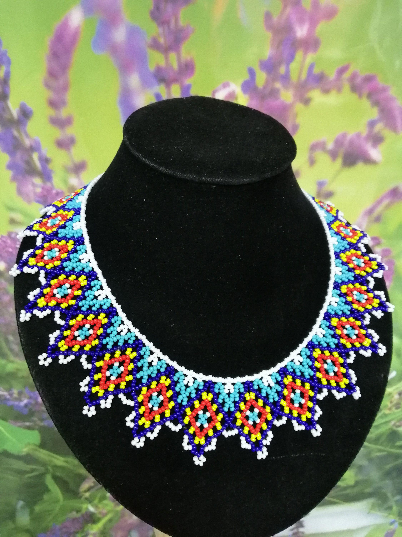 Elegant beaded necklace Native American Necklace Collar lace Gift idea Collar bead necklace Necklace handmade Dainty beaded necklace