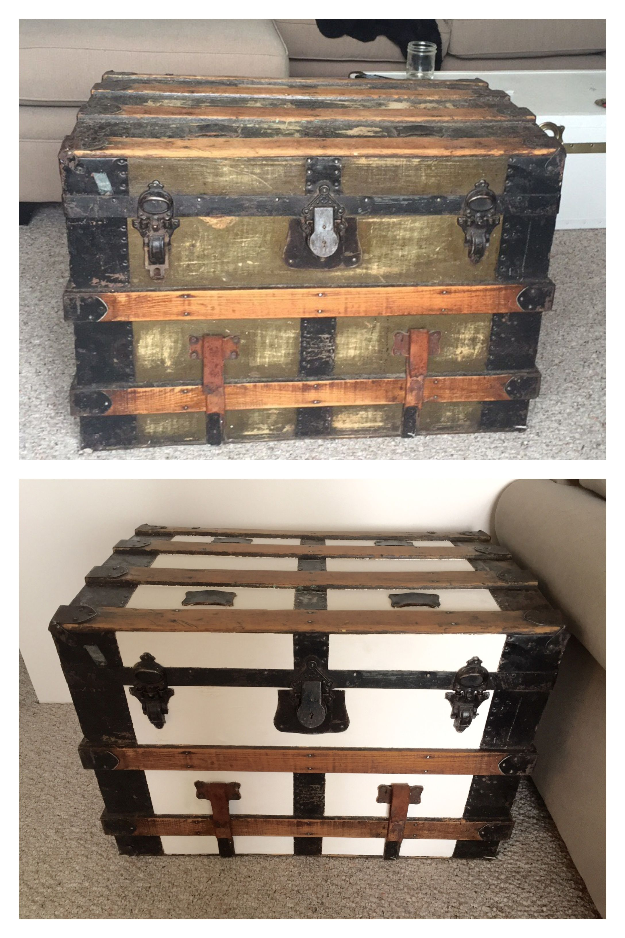 Image Of 19 C Eagle Lock Co Wood Leather Steamer Trunk Trunks