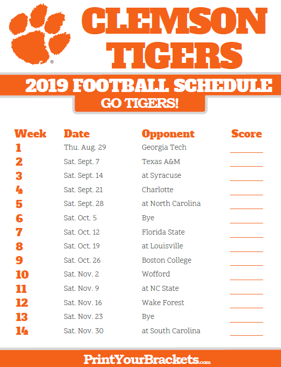 image about Printable College Football Schedules titled Printable 2019 Clemson Tigers Soccer Plan Printable