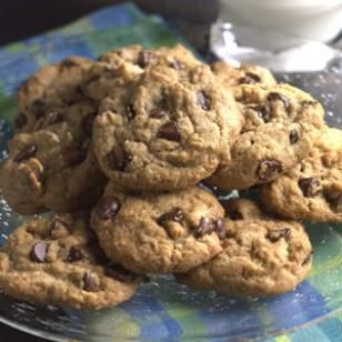 these cookies today- they use whole wheat flour and ground up old-fashioned oats instead of white flour. I used the 1/4 cup of butter they called for but used applesauce in place of the canola oil. I also added a scoop of unflavored soy protein powder, and about a tbps more applesauce to counteract the added dry ingredient then. The fianc...