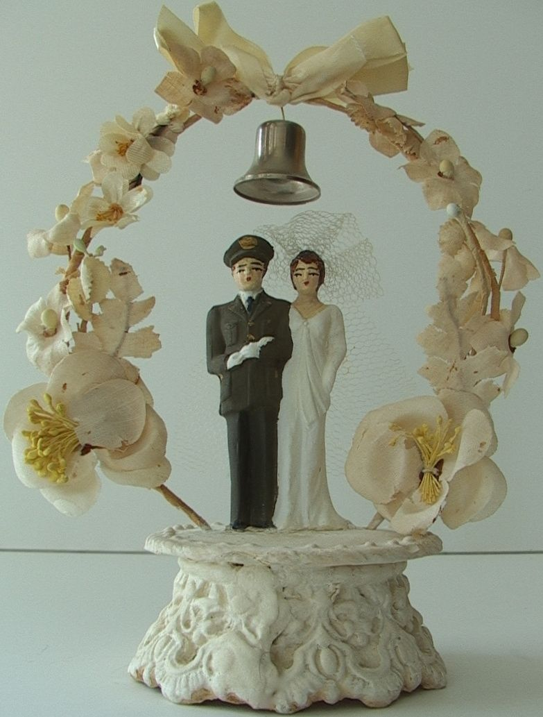Rare military vintage army wedding cake topper chalk ware
