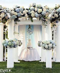 Hydrangea wedding arch / http://www.himisspuff.com/beautiful-hydrangeas-wedding-ideas/6/