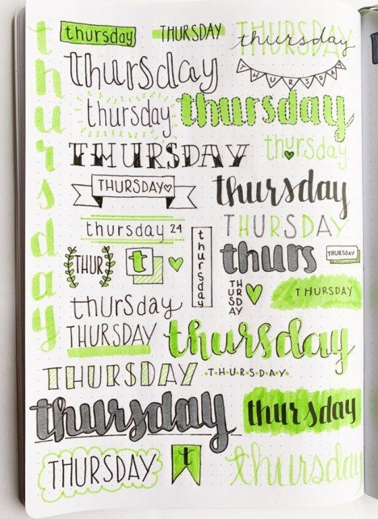 Bullet Journal Weekly Headers For You To Copy #calligraphy Want some inspiration...