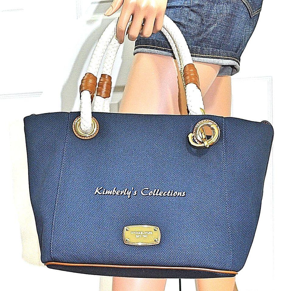 52a5f077f638 Michael Kors Nautical Marina Medium Grab Bag Navy Blue Tote Bag Purse NWT…