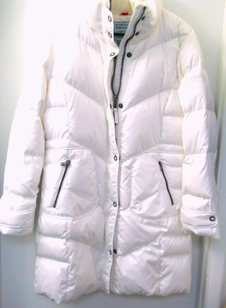 Womens Esprit Puffer Coat White Winter Large Knit Collar