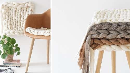 Coussin fauteuil tricoté DIY