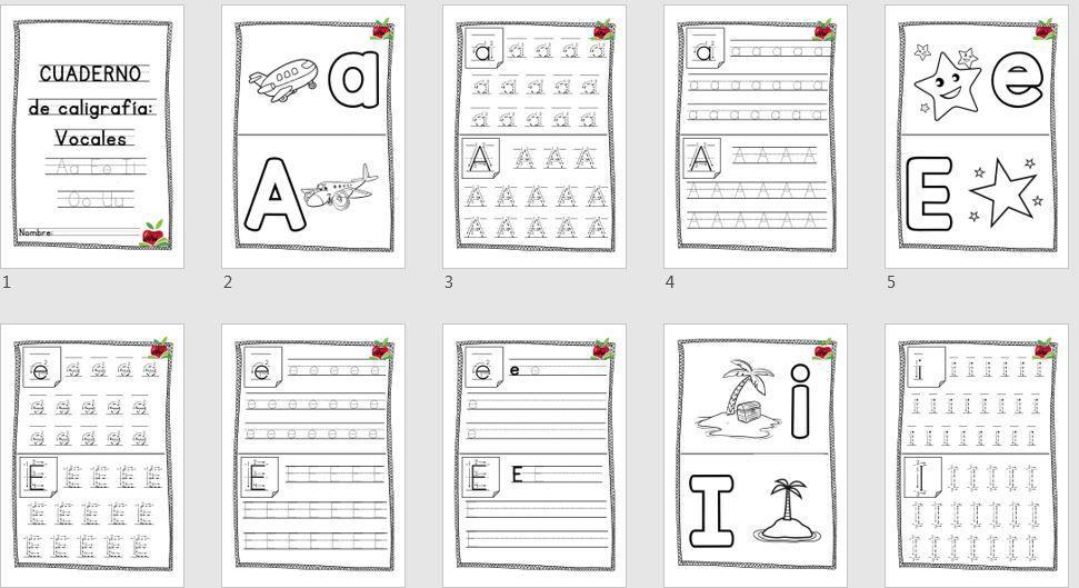 Cuaderno de caligrafía y grafomotricidad vocales | Lectoescritura ...