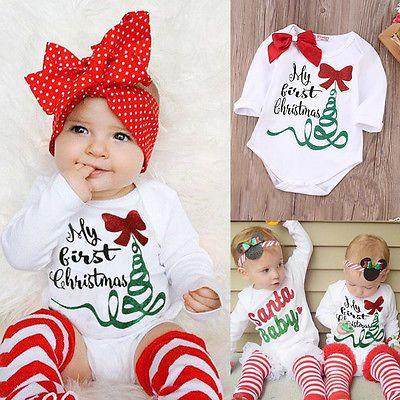 e43495256 Newborn Baby Girl Romper Bodysuit Jumpsuit My First Christmas ...