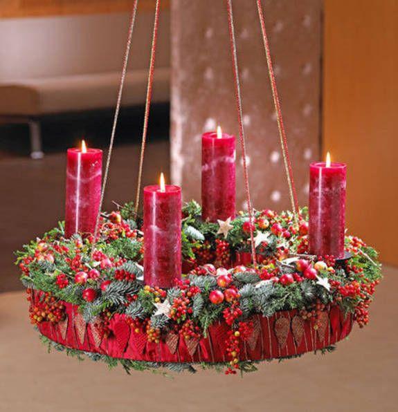 Hängender Adventskanz in weihnachtlichem Rot (mit Bildern ...