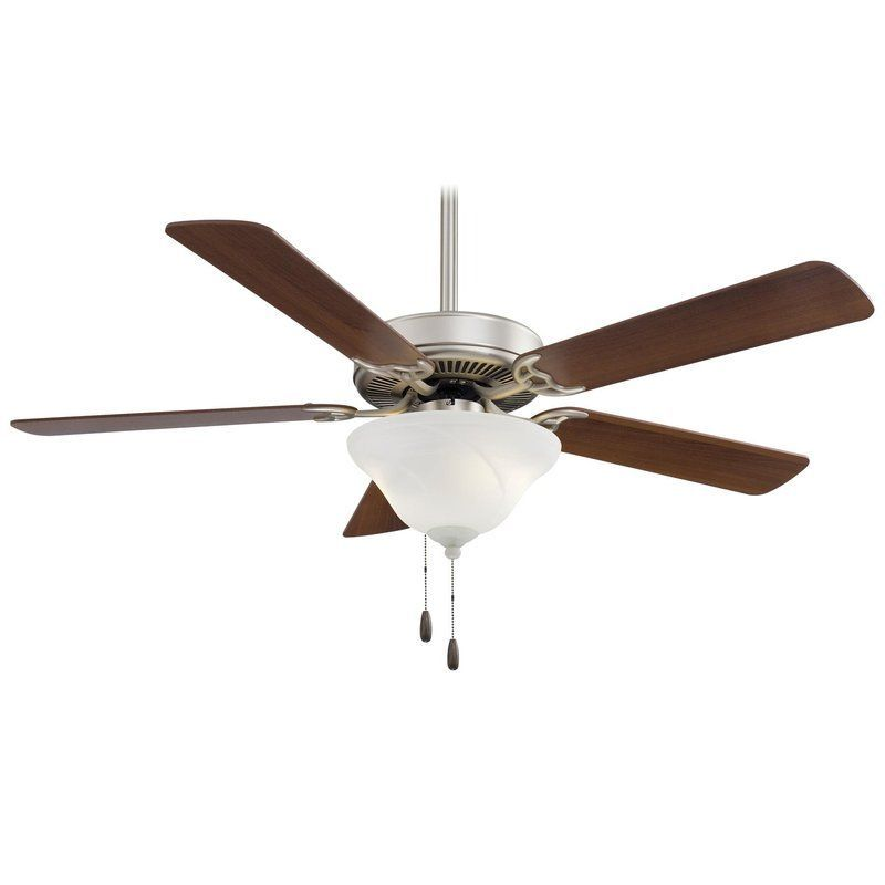 "MinkaAire Contractor Uni-Pack Contractor 52"" 4 or 5 Blade Indoor Ceiling Fan wit Brushed Steel / Dark Walnut Fans Ceiling Fans Indoor Ceiling Fans"