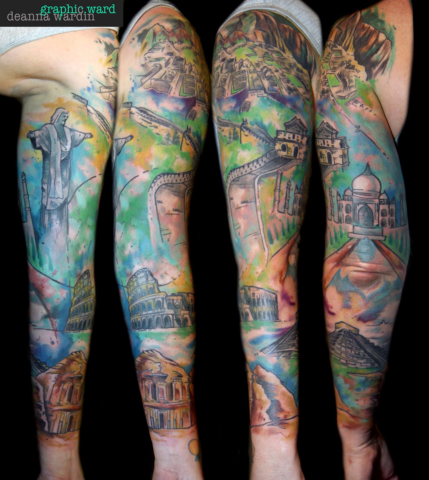7 modern wonders sleeve (With images) Tattoo work