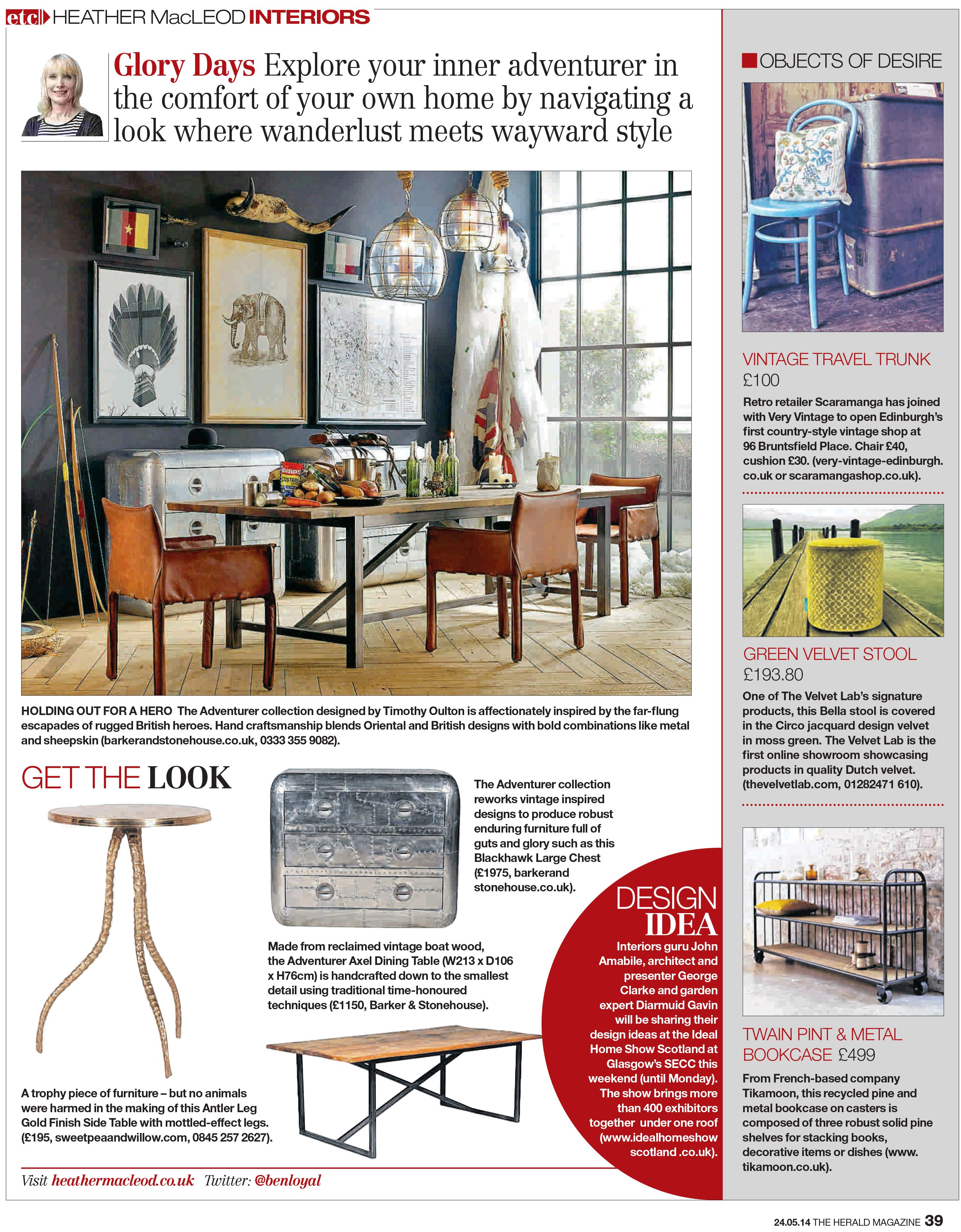 HEATHER MacLEOD INTERIORS - Thank you!  Lovely little feature here in The Herald Magazine! Our BELLA stool covered in ROYAL DUTCH VELVET; DESIGN CIRCO MOSS GREEN.   Available online here: http://www.thevelvetlab.com/en/stools/bella/130#141:174;Circo+Mossgreen+7270:175;Circo+Mossgreen+7270:  Just love velvets! #velvet #design #personalize #dutchdesign